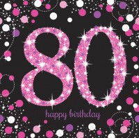 16 Pink 80th Birthday Servietten 33cm
