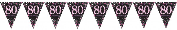 Pink 80th Birthday Wimpelkette 4m