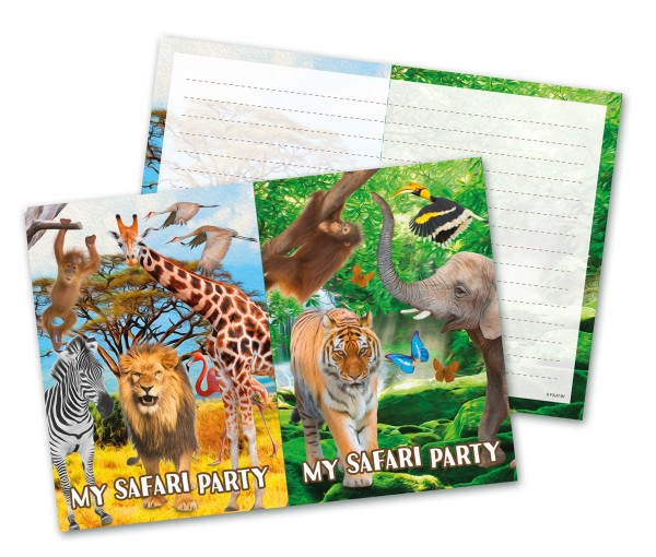 8 cartes d'invitation Wild Safari