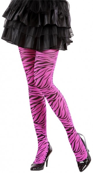 Pinke Zebra Look Strumpfhose 40 DEN