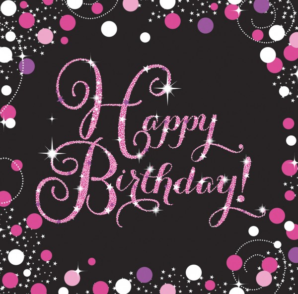 16 roze Happy Birthday servetten 33cm