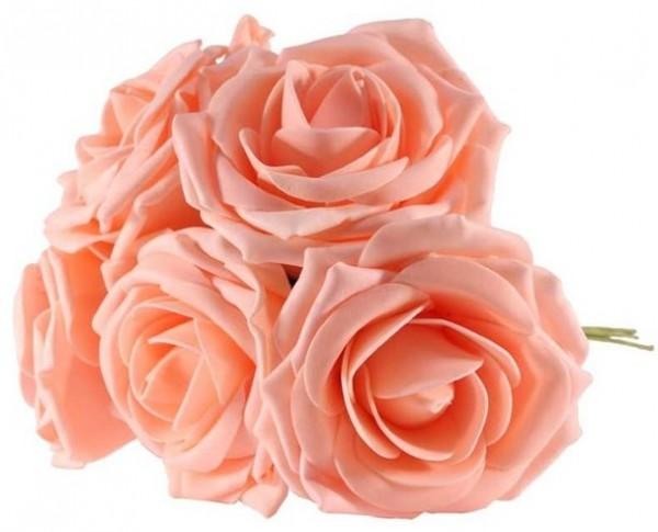 5 pfirsichfarbene Rosen aus Schaumstoff