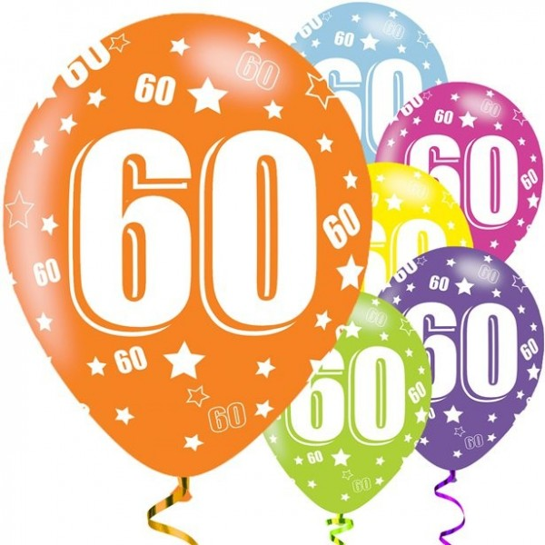 6 Holo 60th Birthday Luftballons 28cm