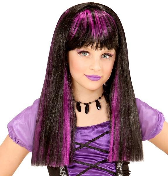 Perruque cheveux longs violet-noir pour enfants