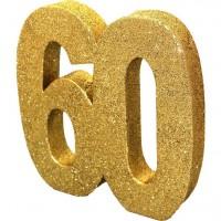 Goldene Zahl 60 Tischdeko 20cm