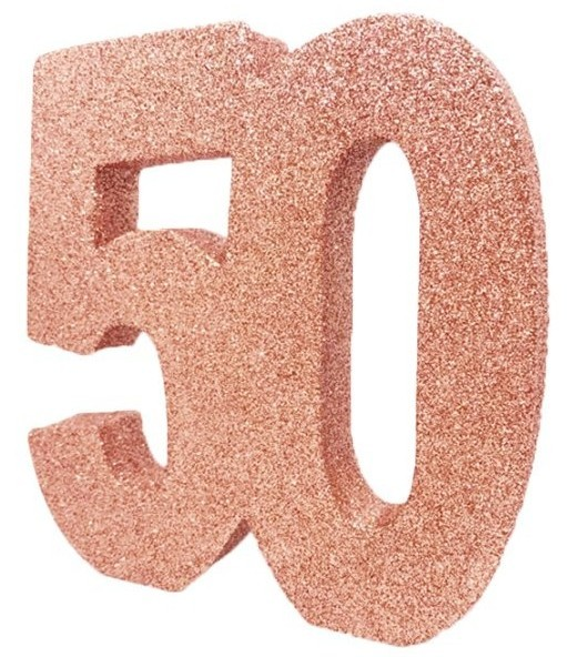 Rose gold number 50 glittering table decoration