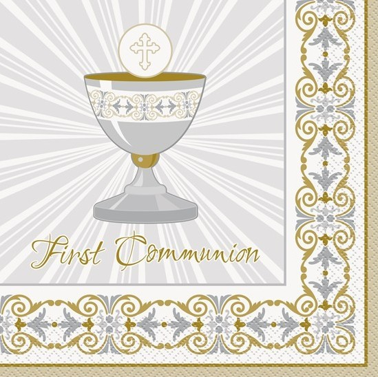 16 first communion napkins gold 33cm