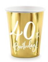 6 Glossy 40th Birthday Becher 220ml