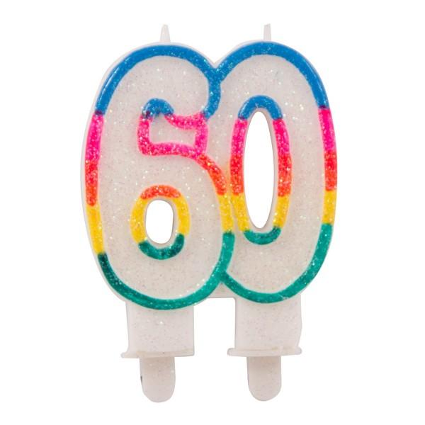 Bougie gâteau numéro soixante arc-en-ciel