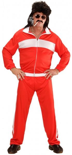 Costume de jogging rouge des années 80 pour homme