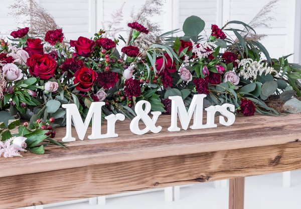 Mr & Mrs deco lettering blanco 50 x 9,5cm