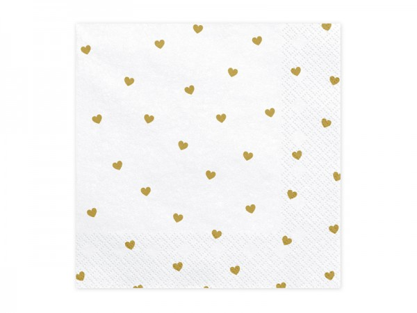 20 golden hearts rain napkins 33cm