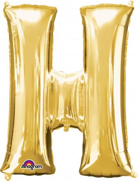 Letter foil balloon H gold 81cm