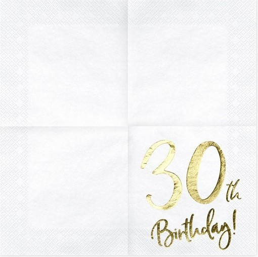 20 Glossy 30th Birthday Napkins 33cm