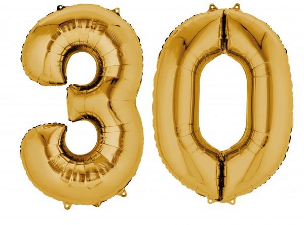 Ballon aluminium numéro 30 or métallique 88cm