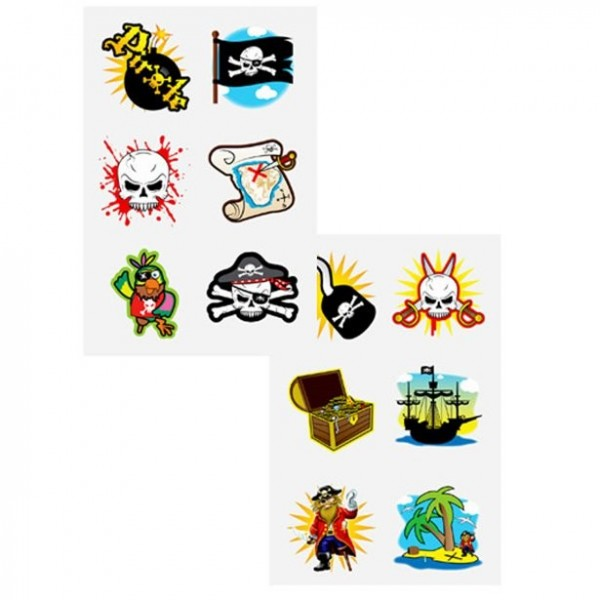 1 bow pirate party tattoos
