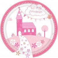 8 Kommunion Pappteller pink 23cm