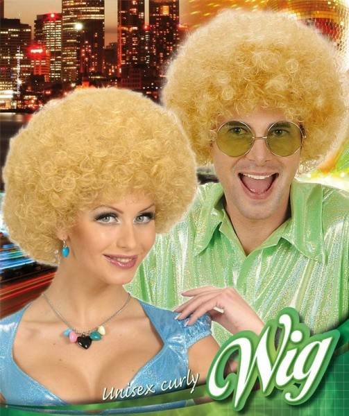 Blonde disco afro wig