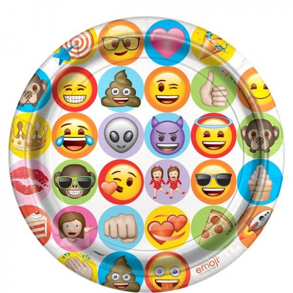 8 Emoji Pappteller 22cm