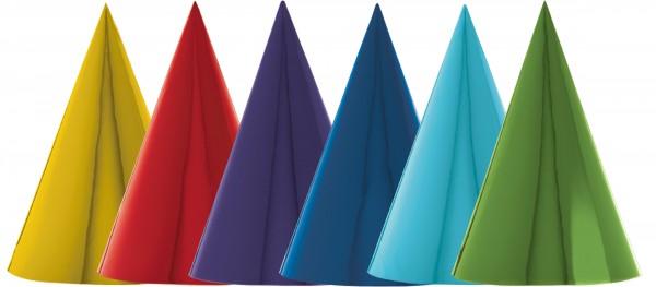12 regenbogenfarbene Partyhütchen 17,7cm