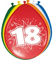 8 Ballons Birthday Zahl 18 30cm
