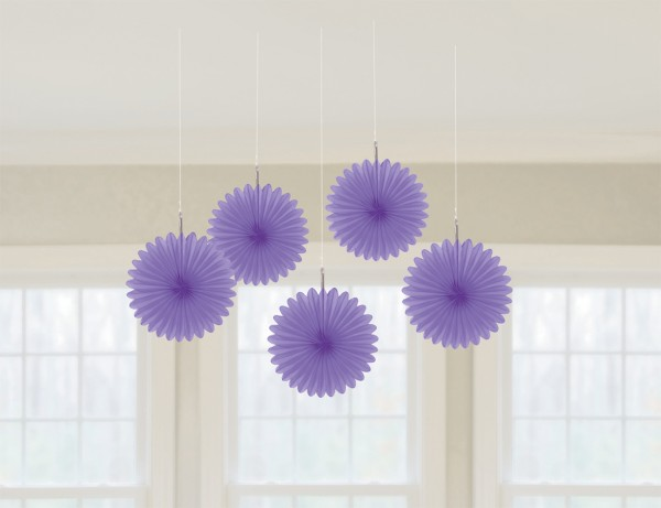 5 purple paper rosettes Juliane 15cm