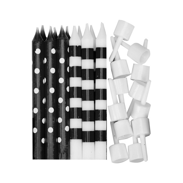 12 cake candles Birthday Child black and white