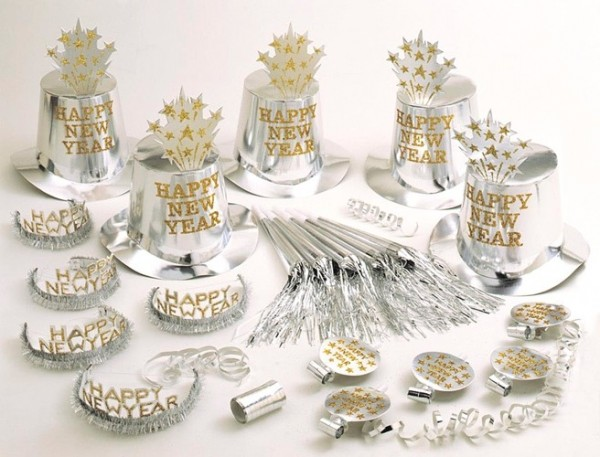 Set de fiesta de año nuevo plateado 21 piezas
