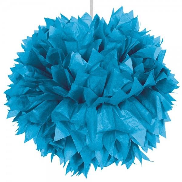 Décoration boule pompon bleu 30cm