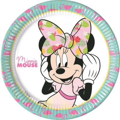 8 Tropical Minnie Mouse Pappteller 23cm