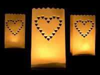 10 Lichttüten mit Herzmotiv 26cm