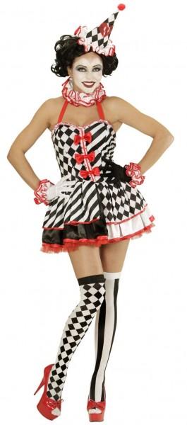 Sexy gelukkig clown dames kostuum