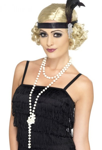 Biały naszyjnik z pereł lat 20