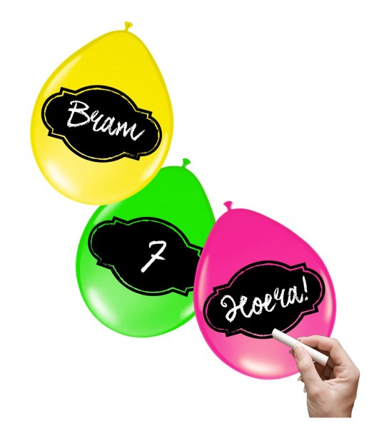 6 neon balloons with blackboard foil