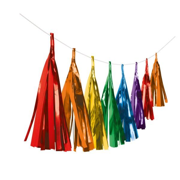 Shiny Rainbow Fransengirlande 3m