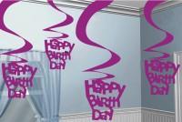 Happy Birthday Celebration Wirbel Hängedekoration Pink 5x61cm