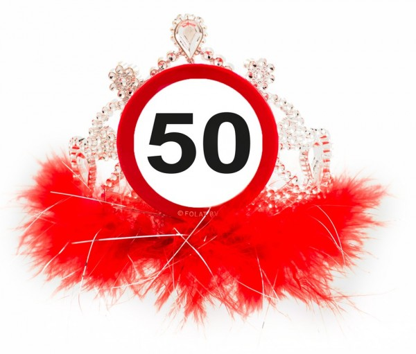 Road sign 50 birthday crown