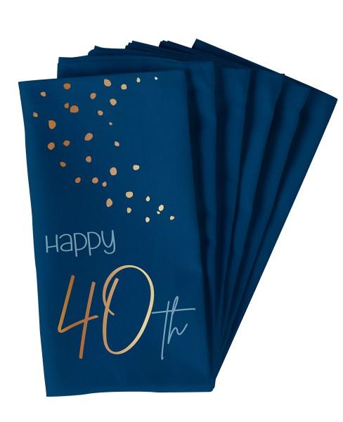 40. Geburtstag 10 Servietten Elegant blue
