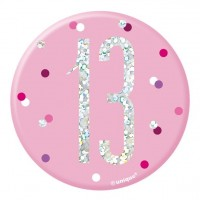 Pink Dots 13th Birthday Button 7cm