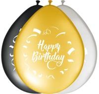 8 Ballons Happy Bday gold-silber-schwarz