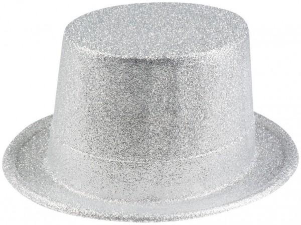 Glitter feesthoed zilver