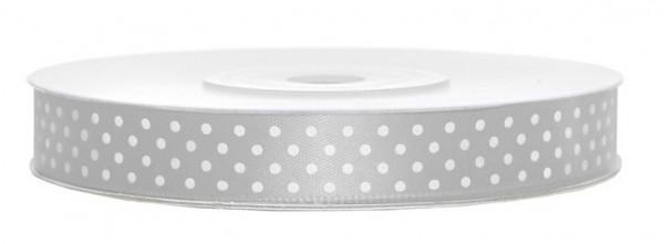 25m Satin Geschenkband Silver Dots