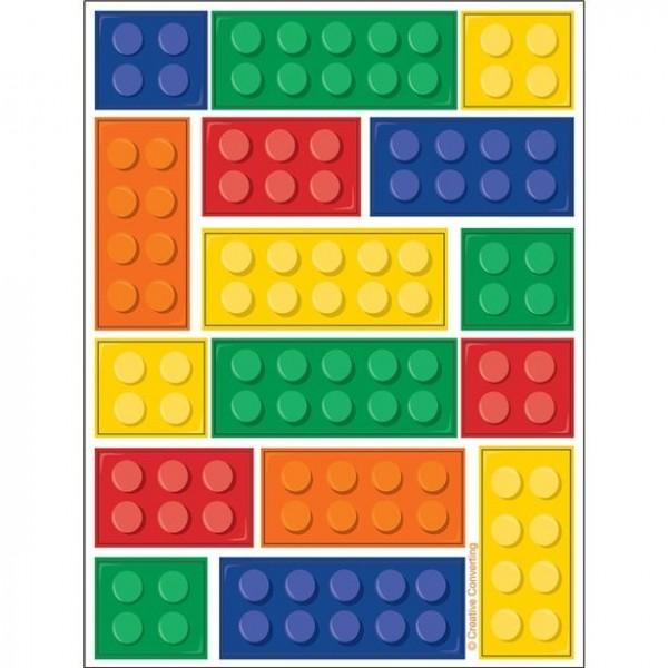 4 Bunte Baustein Sticker Bögen