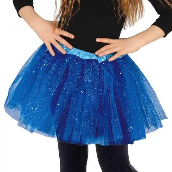 Glitzer Tutu für Kinder blau-Einheitsgröße