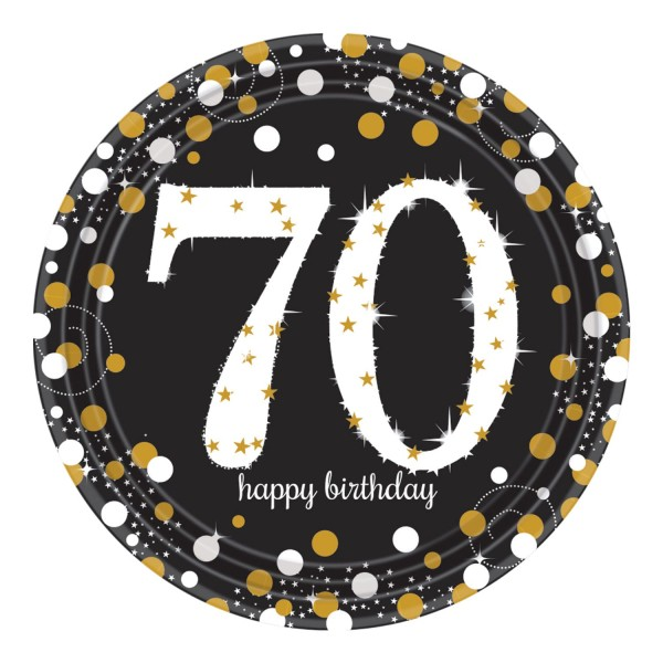 8 Golden 70th Birthday Pappteller 23cm
