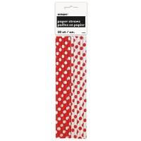 10 gepunktete Papier Strohhalme rot weiß