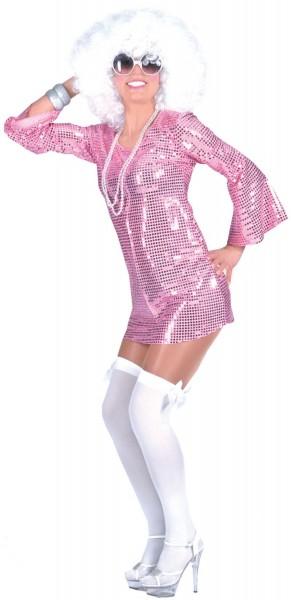 Glitzer Discokleid Tunika Pink