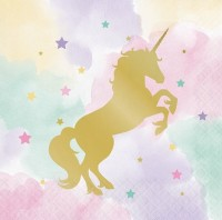 16 Golden Unicorn Servietten 33cm
