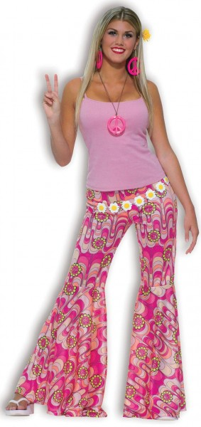 Pinke Flower Power Schlaghose