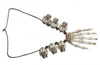 Halskette Skeletthand und Totenköpfe